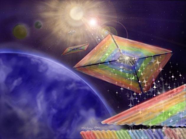 Künstlerische Darstellung der Reise eines diffraktiven Lichtsegels zu einem Exoplaneten (Illu.). Copyright: MacKenzi Martin / Grover Swartzlander