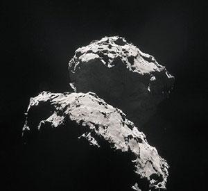 Rosettas Sicht auf den Kometen 67P/Churyumov-Gerasimenko. Copyright: ESA/Rosetta/NAVCAM
