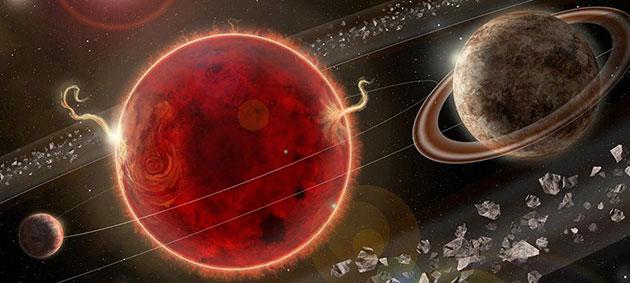 Künstlerische Interpretation der beiden bislang bekannten Planeten und kalten Staubgürtel um den roten Zwergstern Proxima Centauri (Illu.). Copyright/Quelle: Lorenzo Santinelli / Science Advances