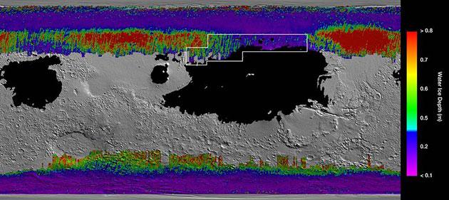 Wasser-Schatzkarte des Mars: Kalte Farben zeigen Eislager in Oberflächennähe, während warme Farben tiefere Wassereislager anzeigen. Schwarze Zonen markieren jene Regionen, in denen ein Raumschiff in feinem Staub landen würde. Der Rahmen markiert die ideale Landeregion für eine zukünftige bemannte Mission mit vergleichsweise leichtem Zugriff auf verborgenes Wassereis. Copyright: NASA/JPL-Caltech/ASU