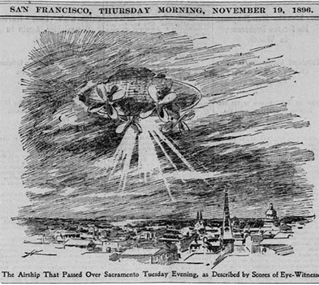 Historischer, illustrierter Zeitungsbericht über die Sichtung eines sonderbaren Luftschiffes über Sacramento 1896.