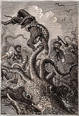 """Riesenklamare sind vermutlich der wahre Kern hinter Sagen und Legenden rund um Riesenkraken, die nicht nur Menschen, sondern sogar ganze Schiffe mit in die Tiefe reißen. Die Illustration zeigt den Kapmf mit einem solchen Kraken aus Jules Verne's """"20,000 Meilen unter dem Meer"""" Copyright: Alphonse de Neuville"""