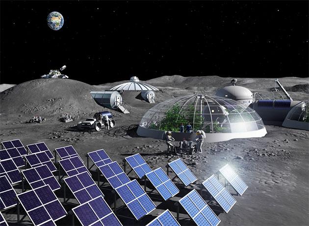 Grafische Simulation einer zukünftigen Mondbasis. Copyright: ESA - P. Carril