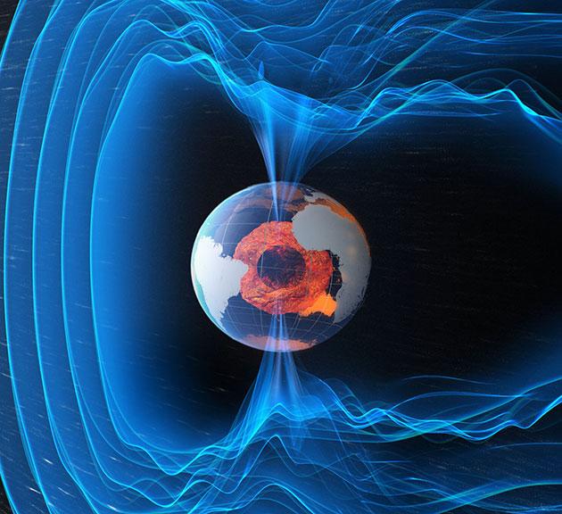 Künstlerische Darstellung des heutigen Erdmagnetfeldes (Illu.). Copyright: ESA/ATG Medialab