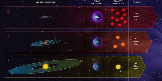 Drei Sternenkategorien im Vergleich: Sonnenähnliche, sog. G-Sterne (u.); orange Zwergsterne (K-Sterne; m.) und Rote Zwerge (M-Sterne; o.) Copyright: NASA, ESA, and Z. Levy (STScI)