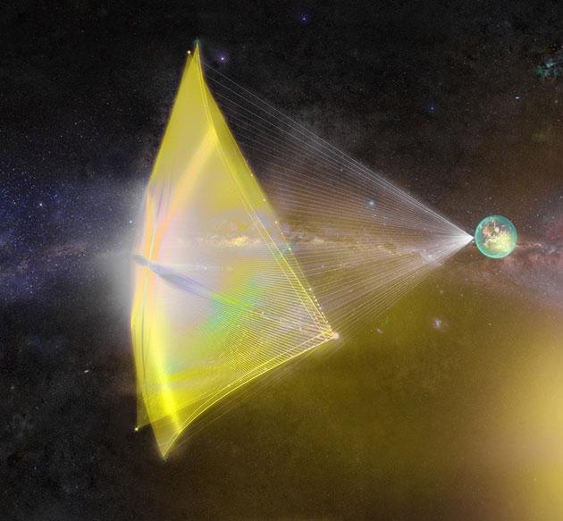 Künstlerische Darstellung eines gewaltiges Lichtsegels (Illu). Copyright: Starshot Breakthrough