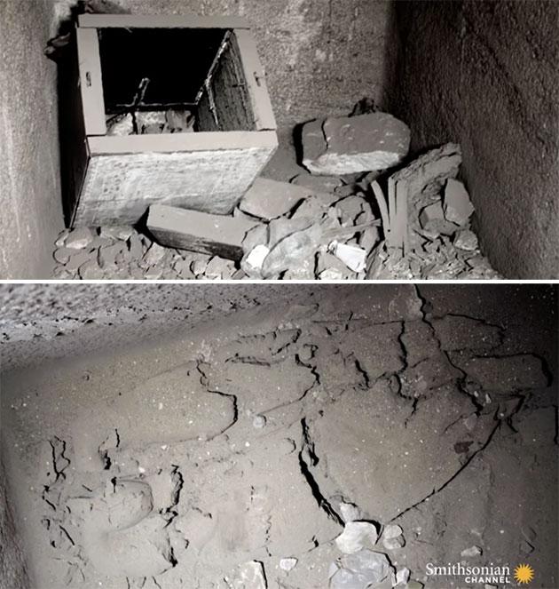 Blick in die geplünderte Grabkammer und die Reste einer Mumie (u.). Copyright/Quelle: Smithsonian Channel