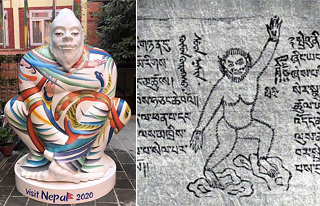 Mit individuell gestalteten Skulpturen wie dieser (l.) wirbt Nepal 2020 um Touristen. Sie unterscheidet sich deutlich von historischen Darstellungen (r.), die den Yeti als affenartiges Wesen zeigen. Copyright: visitnepal2020.com