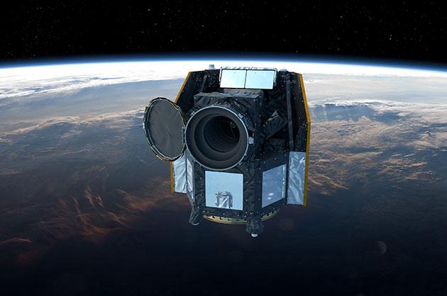 Künstlerische Darstellung des CHEOPS-Teleskops im Erdorbit (Illu.). Copyright: ESA/ATG medialab