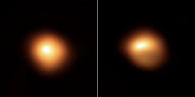 Der Rote Überriese Beteigeuze, beobachtet durch das SPHERE-Teleskop im Januar und Dezember 2019. Copyright: ESO/M. Montargès et al.