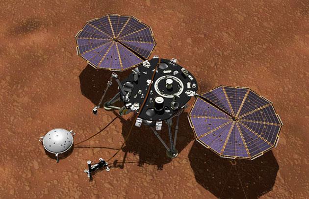 Künstlerische Darstellung der InSight-Sonde mit dem Seismometer SEIS auf dem Mars (Illu.). Copyright: Bild: Nasa/JPL-Caltech