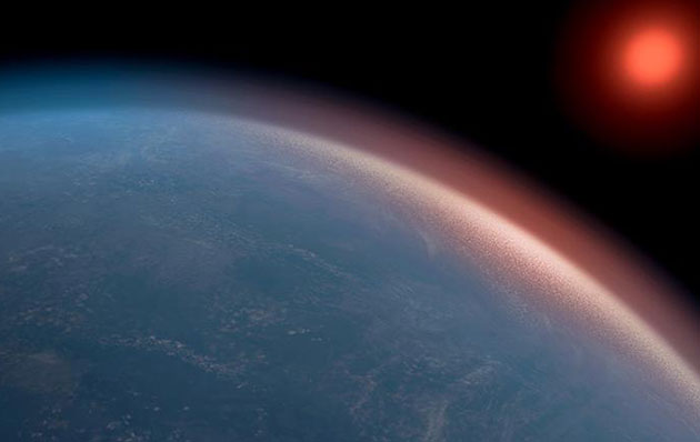 """Künstlerische Darstellung des Exoplaneten """"K2-18b"""" (Illu.). Copyright/Quelle: Amanda Smith / University of Cambridge"""
