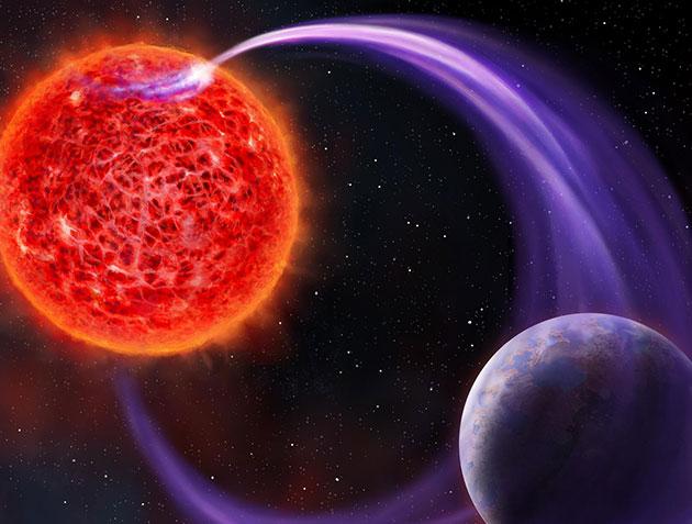 Künstlerische Darstellung eines das Magnetfeld eines Roten Zwergs durchquerenden Exoplaneten (Illu.). Copyright/Quelle: artsource.nl / ASTRON
