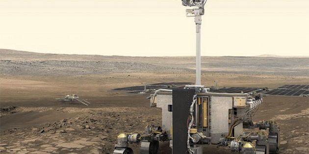 """Künstlerische Darstellung des Mars-Rovers """"Rosalind Franklin"""" der europäisch-russischen Mission """"ExoMars"""", der 2021 auf dem Roten Planeten eintreffen soll (Illu.). Copyright: ESA/ATG Medialab)"""