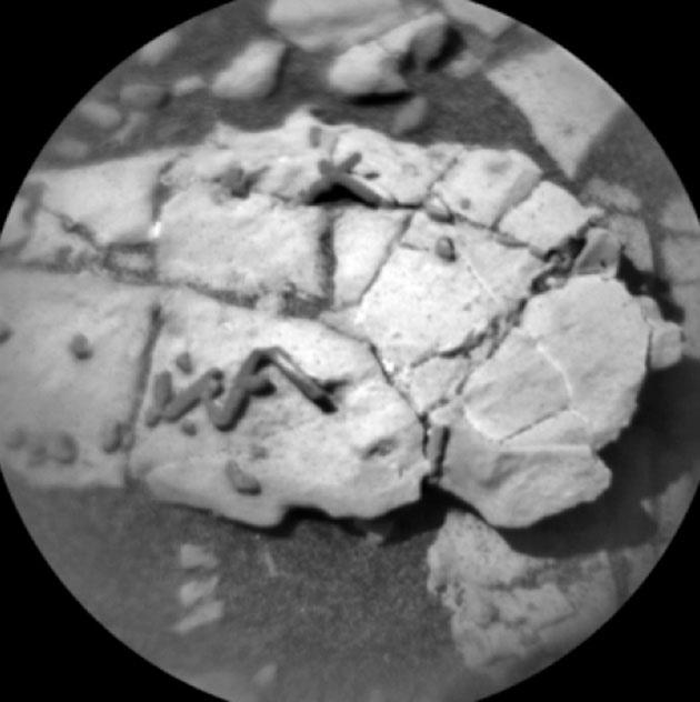 ChemCam-Mikroskopaufnahmen der Strukturen vom 31. Dezember 2017. Copyright: NASA/JPL-Caltech/LANL