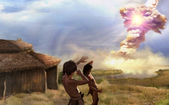 Künstlerische Darstellung des Einschlages von Kometenfragmenten vor rund 12.800 Jahren nahe Abu Hureyra (Illu.). Copyright/Quelle: ucsb.edu