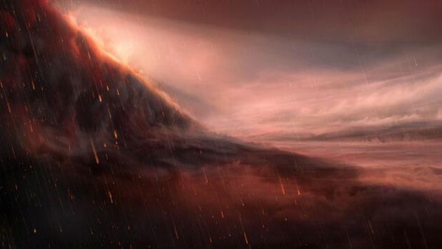 """Künstlerische Ansicht der Nachtseite des Eisenregen-Planeten """"WASP-76b"""" (Illu.). Copyright: ESO/M. Kornmesser"""