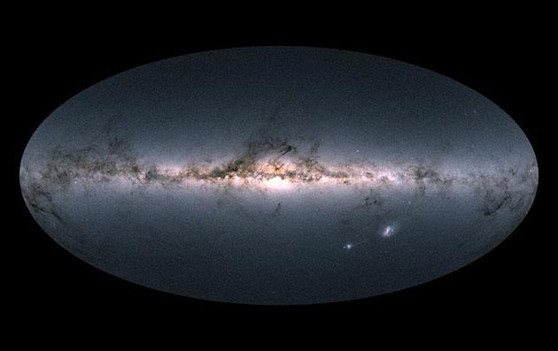 Seitenansicht der Milchstraße auf der Grundlage der Beobachtungsdaten des europäischen GAIA-Weltraumteleskops. Copyright: ESA/Gaia/DPAC, CC BY-SA 3.0 IGO