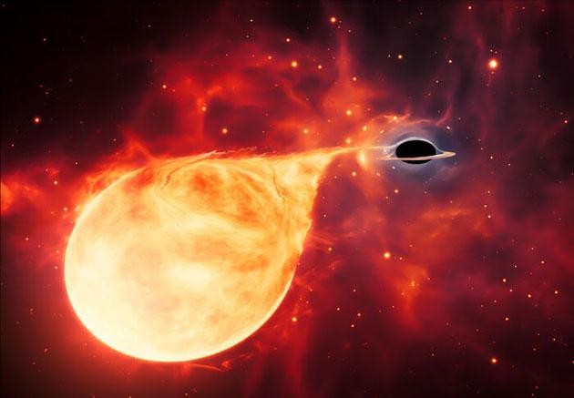 So stellen sich die Astronomen das Verschlingen eines Sterns durch ein mittelschweres Schwarzes Loch vor (Illu.). Copyright: ESA/ Hubble, M. Kornmesser