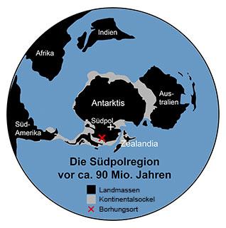 Vereinfachte Übersichtskarte der Südpolarregion zum Zeitpunkt der Ablagerung vor etwa 90 Millionen Jahren Quelle/Copyright: J. P. Klages, Alfred-Wegener-Institut (dt. Bearb.: grewi.de)