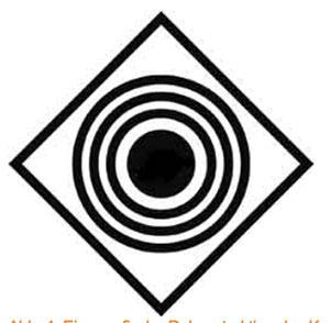 Eine grafische Rekonstruktion des Kornkreises 1879 in Zululand, jedoch ohne das zentrale Symbol. Dieses wurde so beschrieben, dass es später als Schnellfeuerkanone interpretiert werden konnte. Copyright: A. Müller