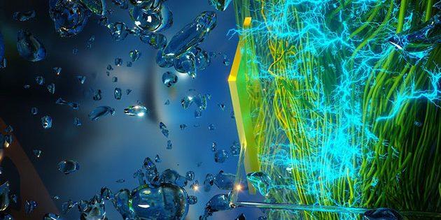 """Grafische Darstellung des Elektrizität erzeugenden Mikrofilms aus Nanodräten, mit dem der """"Air-Gen"""" Strom aus Luftfeuchtigkeit erzeugt (Illu.). Copyright/Quelle: umass.edu"""