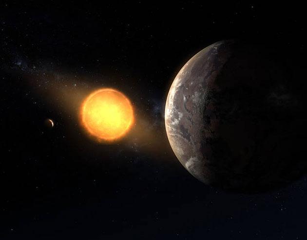 "Künstlerische Darstellung des Planeten mindestens zweier Planeten um den roten Zwergstern ""Kepler-1649"" (Illu). Copyright: NASA/Ames Research Center/Daniel Rutter"
