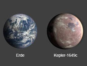 """Größenvergleich zwischen Erde und """"Kepler1649c"""" (Illu.). Copyright: NASA/Ames Research Center/Daniel Rutter"""