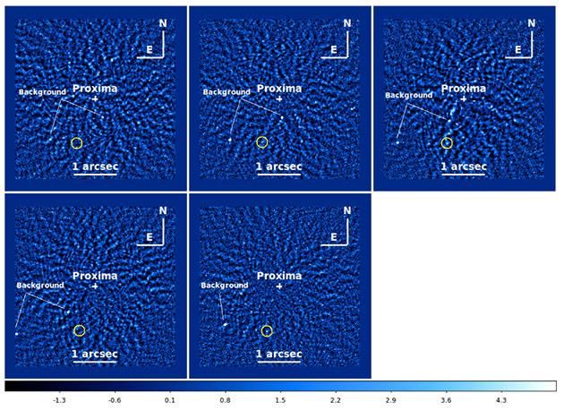 """Weitere potentielle Signale von """"Proxima c"""" (siehe: gelbe Kreise) Hintergrundsterne sind mit """"backgorund"""" markiert.. Copyright: R. Gratton et al., Astronomy & Astrophysics, 2020"""
