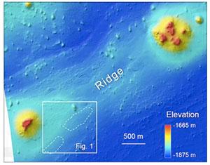 Höhenkarte des betroffenen Gebietes, die beiden Srukturen sind gestrichelt markiert. Copyright/Quelle: Oehler et al. 2020 / NASA