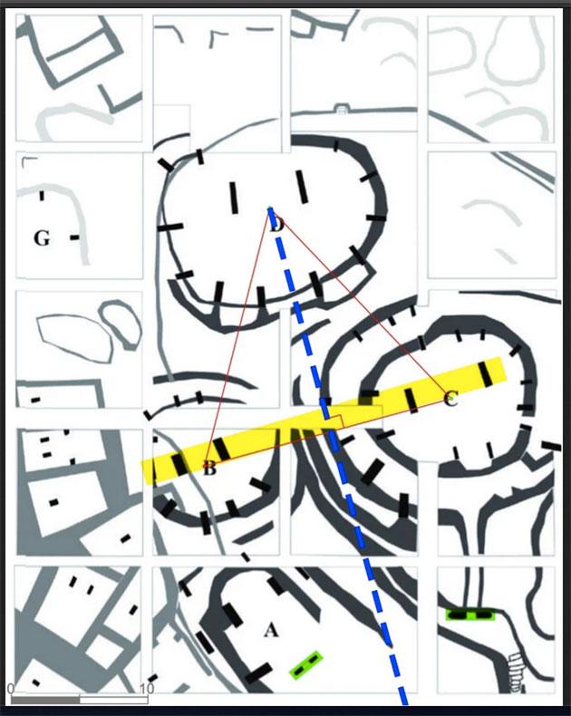 Im architektonischen Grundriss von Göbekli Tepe findet sich ein der ganzen Anlage zugrundeliegendes Dreieck. Quelle: Haklay u. Gopher / K. Schmidt and J. Notroff, DAI