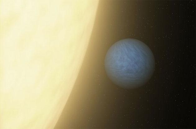 Künstlerische Darstellung eines Exoplaneten mit einer von Wasserstoff dominierten Atmosphäre (Illu.). Copyright: NASA/JPL