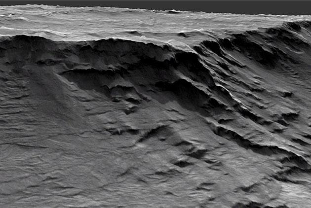 Hochauflösender Blick in ein urzeitliches Flusstal bei Izola Mensa am nordwestlichen Rand des Hellas-Beckens auf dem Mars. Copyright/Quelle: Universiteit Utrecht / NASA/JPLS Caltech/UoA/Matt Balme