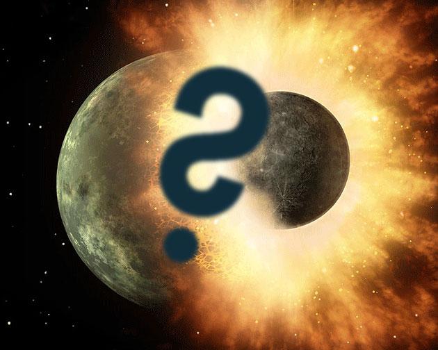 Lücken in der Mond-Entstehungstheorie? Künstlerische Darstellung der Kollision zwischen der jungen Erde und Theia (Illu.). Copyright: NASA/JPL-Caltec