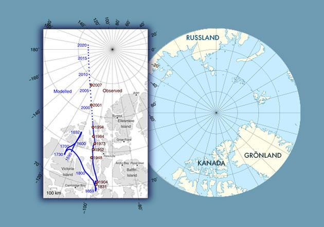 Die Bewegung des magnetischen Nordpols von Kanada Richtung Sibirien. Copyright/Quelle: Erstellt von GreWi.de mit Materialien von WikimediaCommons (User: Cavit) / CC-BY 4.0