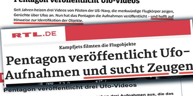Titelbeispiele für deutschsprachige Medienberichte über die Freigabe dreier UFO-Videos des Pentagon. Montage: grewi.de