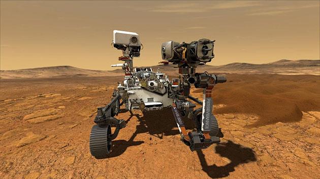 """Künstlerische Darstellung des nächsten Mars-Rover """"Perseverance"""" im Einsatz (Illu.). Copyright: NASA/JPL-Caltech"""