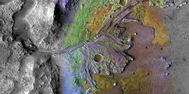 MRO-Satellitenaufnahme des Jezero-Kraters. Copyright: NASA/JPL-Caltech/ASU