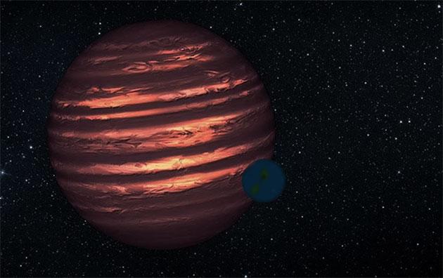 Künstlerische Darstellung eines erdgroßen Planeten um einen Braunen Zwerg (Illu.) Copyright: NASA/JPL-Caltech (bearb. grewi.de)