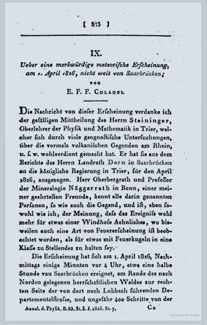 """Erste Seite von Chladnis Bericht in den """"Annalen der Physik""""."""