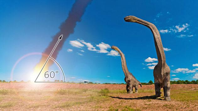 In einem Einschlagswinkel von 60 Grad entwickelte der den Chicxulub-Krater geschlagene Asteroid die größtmögliche Zerstörungskraft (Illu.). Copyright: pixabay/Fuchs