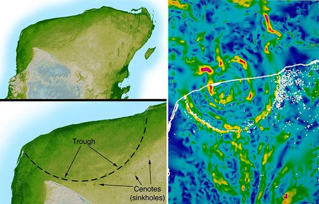Heute zeichnet sich der Krater nur noch schwer erkennbar topografisch ab (l.), tritt aber anhand von Gravitationsanomalien (r.) und zahlreicher Cenoten entlang des einstigen Kraterrandes noch deutlich hervor. Copyright: NASA/JPL-Caltech (Topografie) / USGS (Gravitationsmessung)
