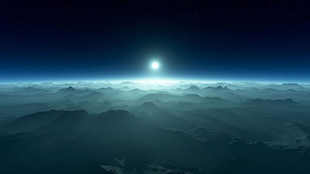 Künstlerische Darstellung der Oberfläche eines erdartigen Planeten um einen Weißen Zwergstern (Illu.). Copyright: Jack Madden/Cornell University