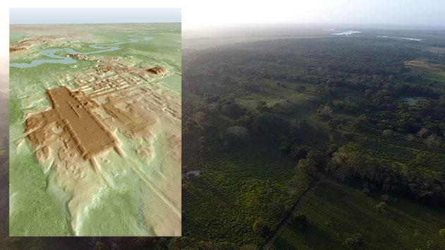 Luftbild und LiDAR-Scan (l.) der Maya-Städte Aguada Fenix. Copyright: Takeshi Inomata