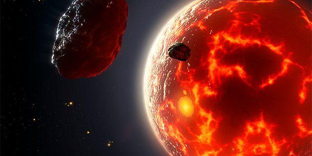 Künstlerische Darstellung eines Magma-Ouean-Planeten (Illu.). Copyright: Mark Garlick