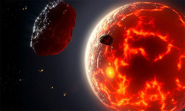 Künstlerische Darstellung eines Magma-Ozean-Planeten (Illu.). Copyright: Mark Garlick
