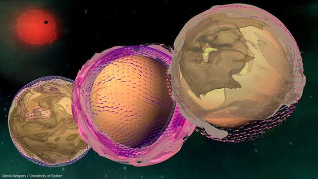 Visualisierung der Simulation von Staub in den Atmosphären ferner erdartiger Planeten um Rote Zwergsterne. (Illu.). Copyright: University of Exeter / Denis Sergeev