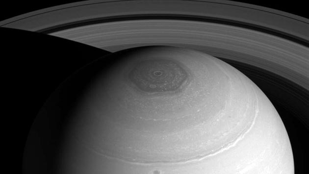 Aufnahme des Saturn-Hexagons durch die Sonde Cassini. Copyright: NASA/JPL-Caltech/Space Science Institute