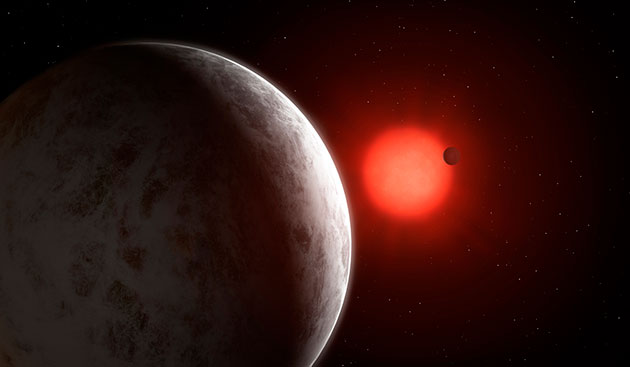 Künstlerische Darstellung zweier Super-Erden um dem roten Zwergstern Gliese 887 (Illu.). Copyright: Mark Garlick