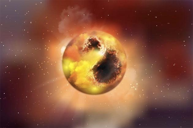 Künstlerische Darstellung des Roten Überriesen Beteigeuze (Illu.). Seine Oberfläche ist hier von großen Sternflecken bedeckt, die seine Helligkeit vermindern. Solche Sterne geben während ihrer Pulsationen regelmäßig Gas an die Umgebung ab, das zu Staub kondensiert. Copyright: MPIA Graphikabteilung